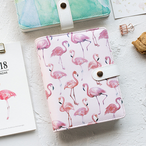 Image 2 - A6 Cute Spiral Notebook Notepad PU Leather Colored Flamingo Sakura Planner Kawaii Diary Book School Office Supply Papelari