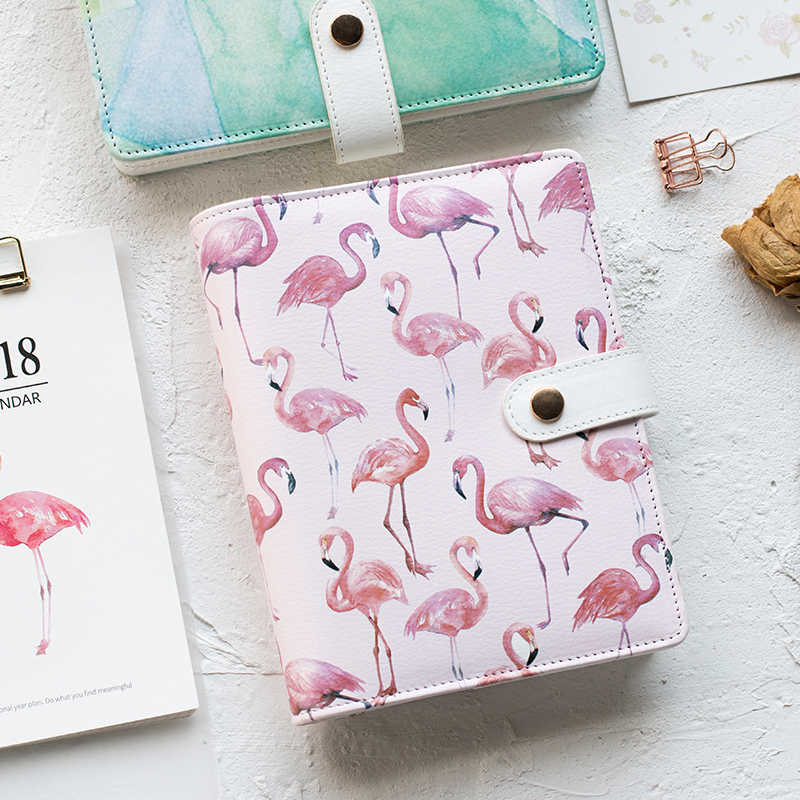 A6 Cute Spiral Notebook Notepad PU Leather Colored Flamingo s
