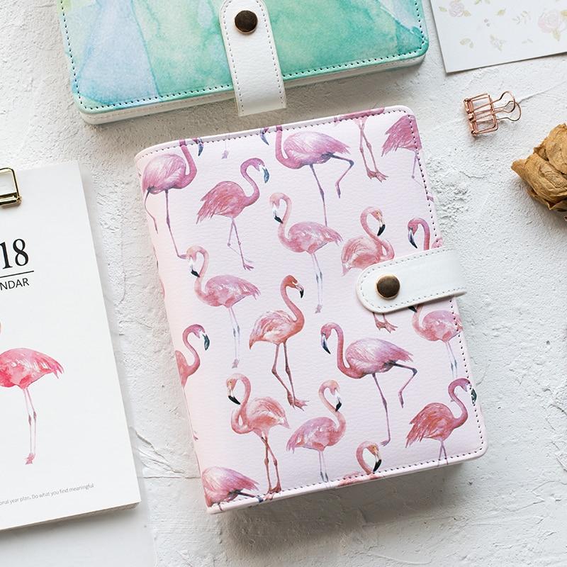 A6 Cute Spiral Notebook Notepad PU Leather Colored Flamingo
