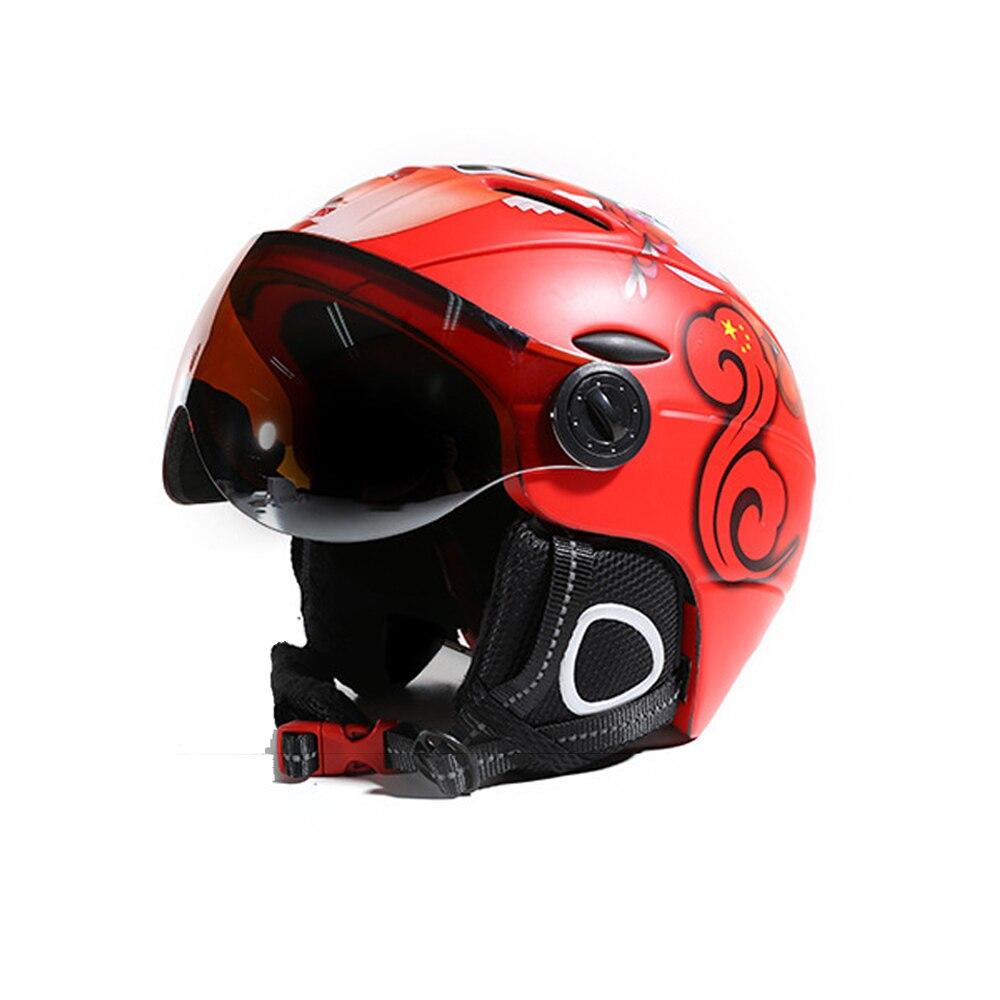 2-в-1 козырек горнолыжный шлем сноуборд Съемная снегозащитная Маска Анти-туман наружное Integrated круглые защитные очки низкая Вес взрослых Для ...