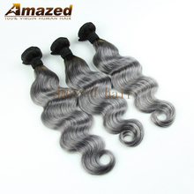 Unprocessed Brazilian Ombre Grey Hair Weave 1B/Gray Top Quality Brazilian Body Wave 5 Pcs Ombre Human Hair Extensions