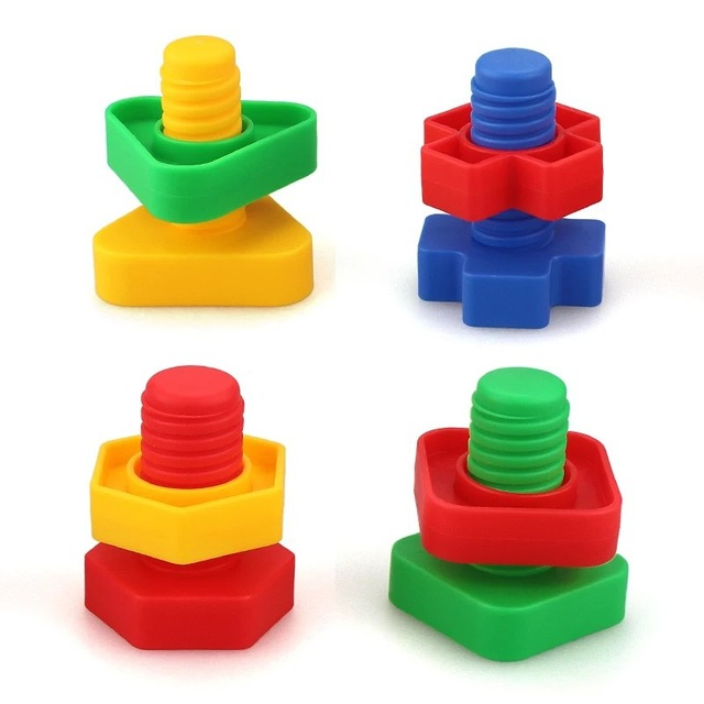 5 Set Screw building blocks plastic insert blocks nut shape toys for children Educational Toys montessori scale models