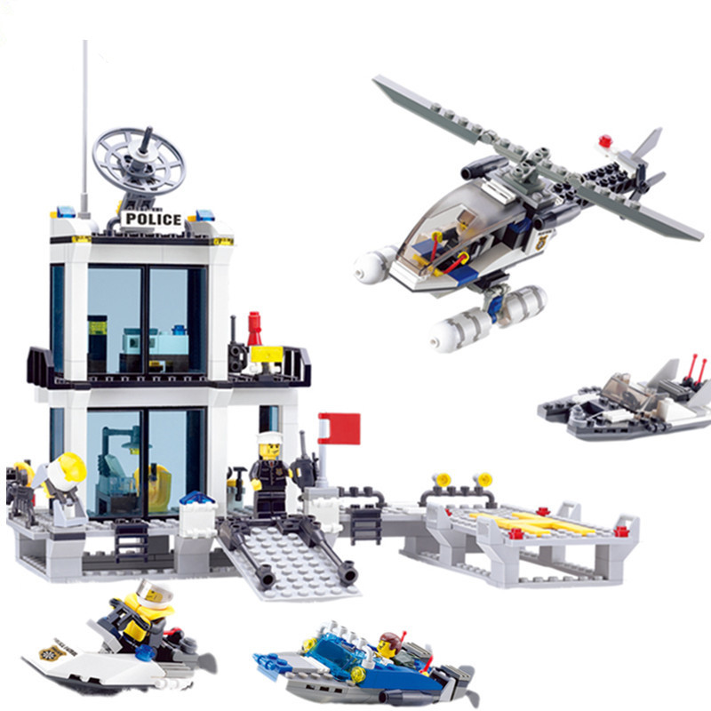 Police Station Building Blocks Helicopter Boat Model Bricks Toys 536pcs Compatible legoings brinquedos Birthday Gift police station model building kit blocks playmobil helicopter blocks diy bricks educational toys compatible legoings city police