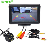 BYNCG Car Parking System Kit 4.3 TFT LCD Color Rearview Display Monitor Waterproof Reversing Backup Wireless Rear View Camera