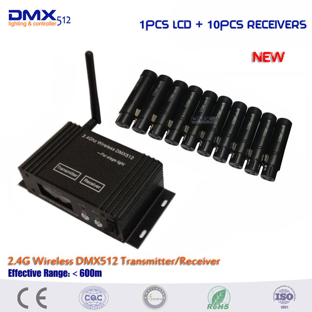 DHL Free Shipping 11pcs/lot 2.4G Wireless DMX 512 Receiver and Transmitter Controller DMX512 Lighting Controller