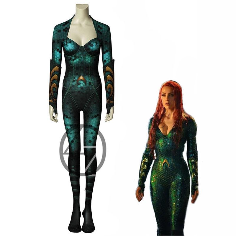 Movie Aquaman Costume Mera Cosplay Amphitrite Fancy Halloween Co Printed Halloween Arnival Cosplay Costume Jumpsuit And Armband