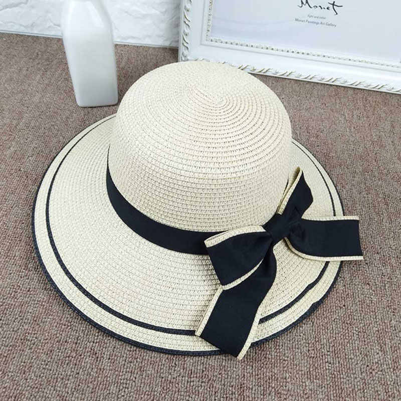 7bad8006d ... Summer Outdoor Sun Hats Fashion Lady Wide-Brimmed Hat Folding Beach Bow Cap  Fashion Casual ...