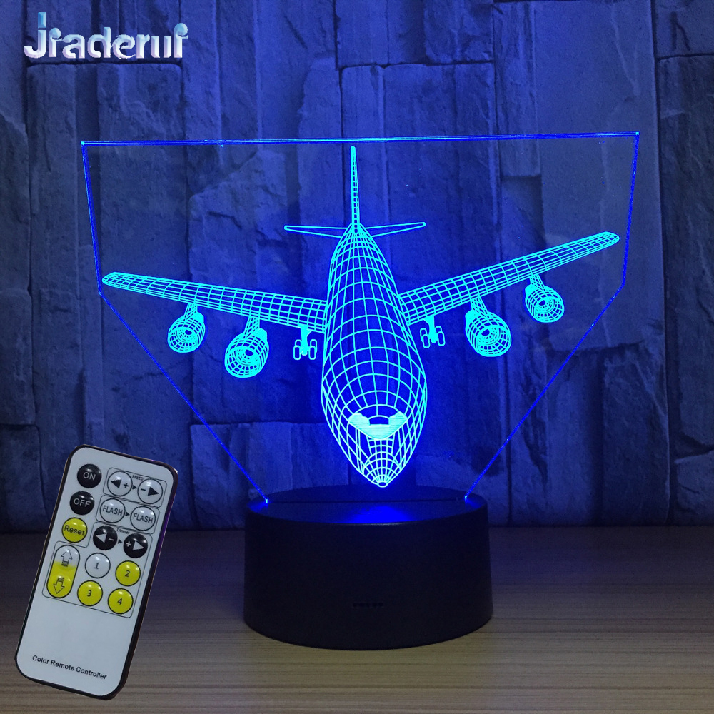 Jiaderui Remote Control Air Plane 3D Table Lamp LED Night Light Optical Illusion Aircraf Color Changing USB Power Kids Best Gift easter gift remote control led color change night light