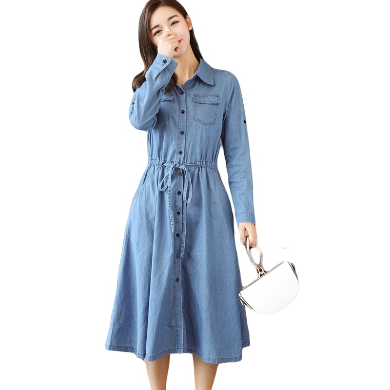 Spring 2018 Women Denim Dress Elegant Long Sleeve Tunic Office Party Dresses Casual Jeans Vestidos With Belt Large Size CM2574