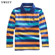 цены Long Sleeve Polo Shirts for Boys School 2018 Spring Autumn Kids Tops Striped Polo Shirt Tees Kids Clothes Cotton Kids Clothing