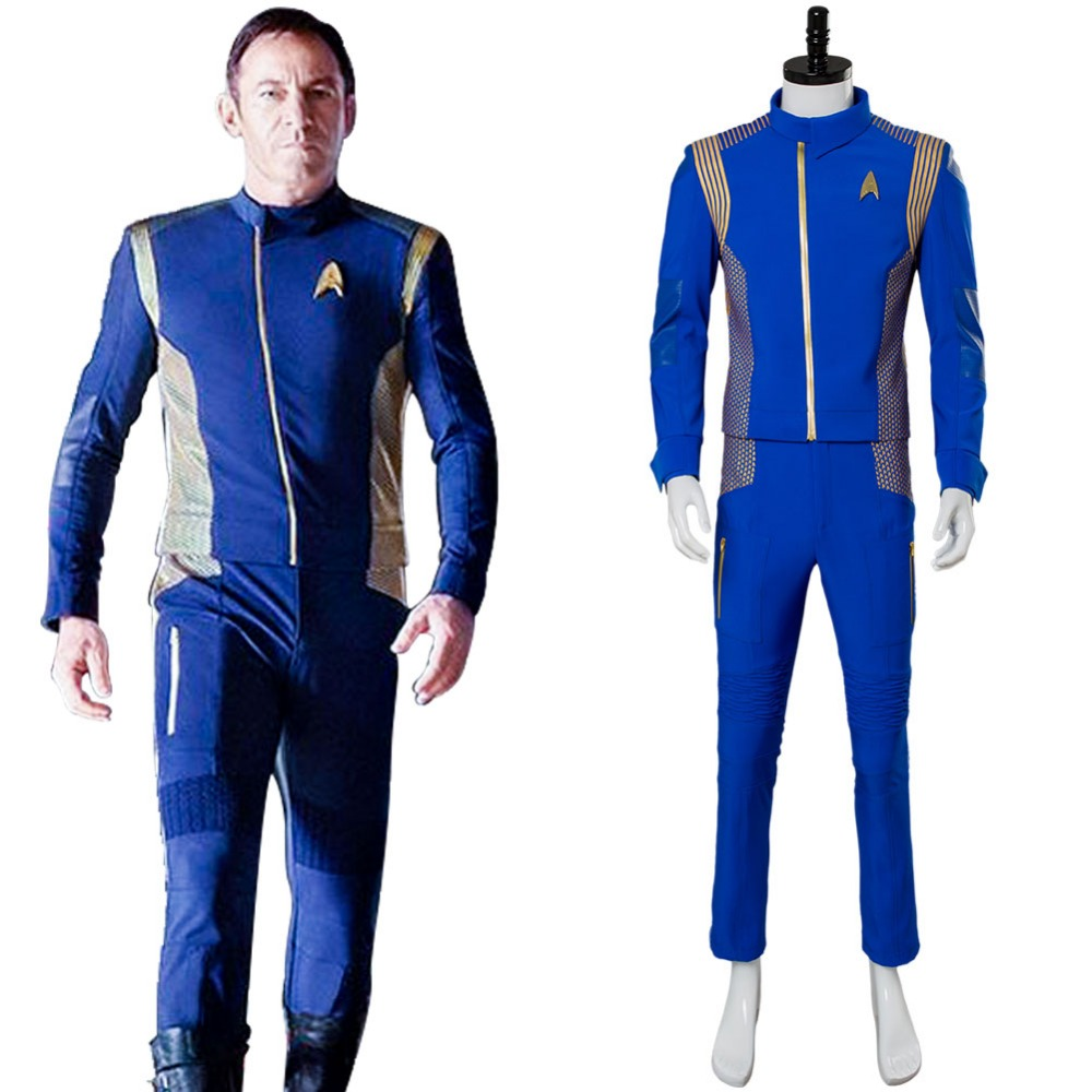 Star Trek Discovery Captain Lorca Cosplay Costume Blue Adult Men Captain Lorca Full Sets Cosplay Costume Command Uniform Suit