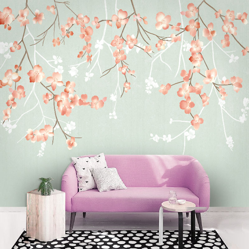 Tuya art wholesale light green with flower mural wallpaper - Cheap wall decals for living room ...