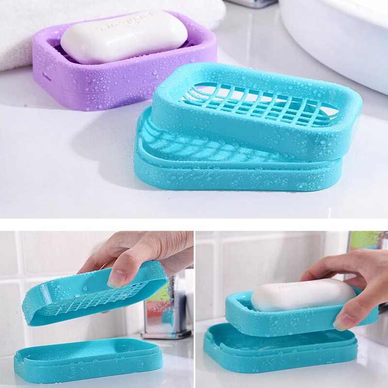 Prato de sabão de plástico caixa de sabão placa titular bandeja sabão placa de chuveiro caminhadas casa de banho caso recipiente organizador casa