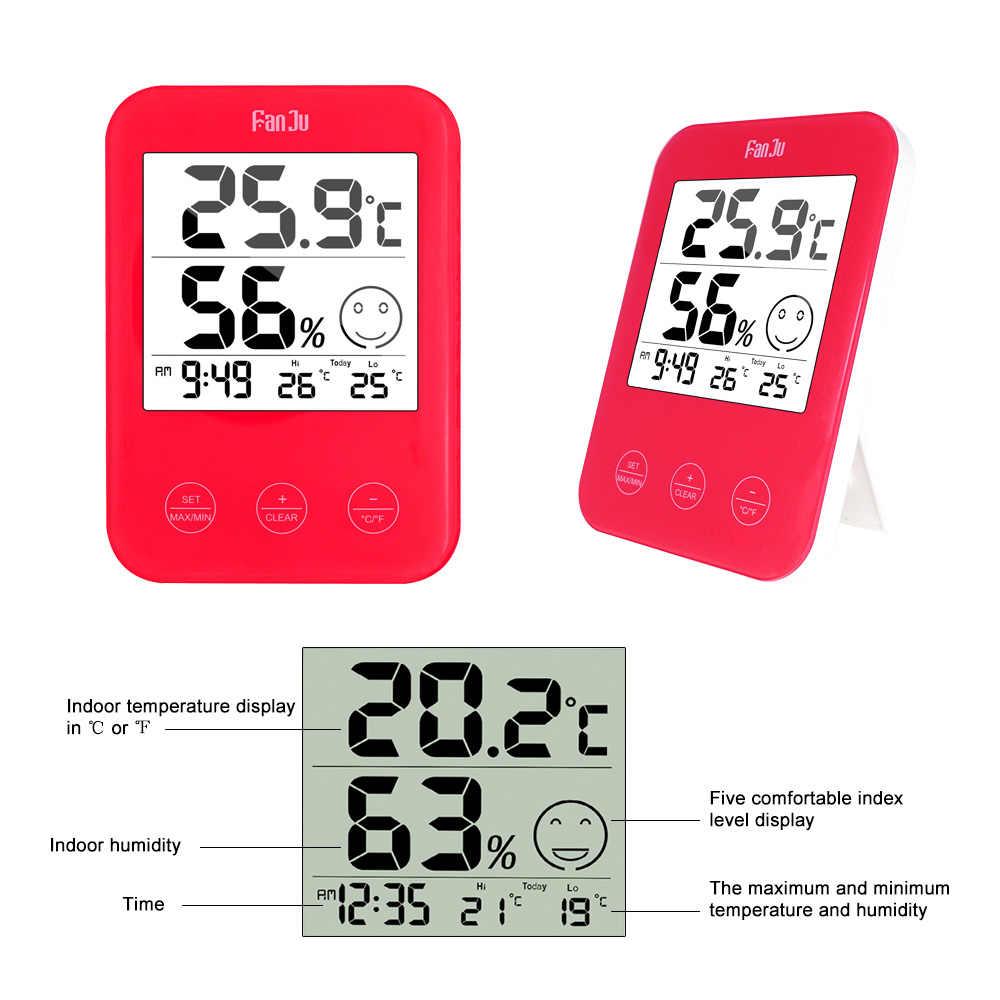 Termômetro digital relógio de parede temperatura umidade conforto expressão relógio eletrônico mesa relógios casa design moderno