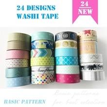 24 дизайна букв/полоса/кружево/пятна/основной узор японский васи клейкая лента декоративный клей DIY маскирующая бумага лента наклейки этикетки