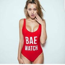 1 PC BAE WATCH/Worst Behavior Swimsuit Letter Print One Piece Swimwear Women Red Black Bodysuit Backless Monokini