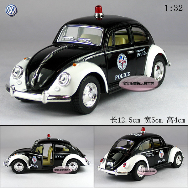 nouvelle volkswagen beetle 1967 coupe voiture de police 1 32 voiture miniature noir toy. Black Bedroom Furniture Sets. Home Design Ideas