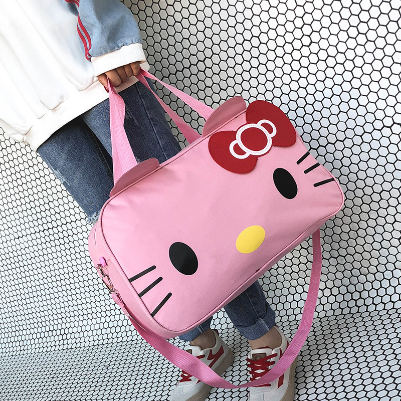 Gaoge Pink Travel Bags For Girls Carton Women Weekend Duffel Bags For Shopping Waterproof Large Capacity Handbags Packing Cubes in Travel Bags from Luggage Bags