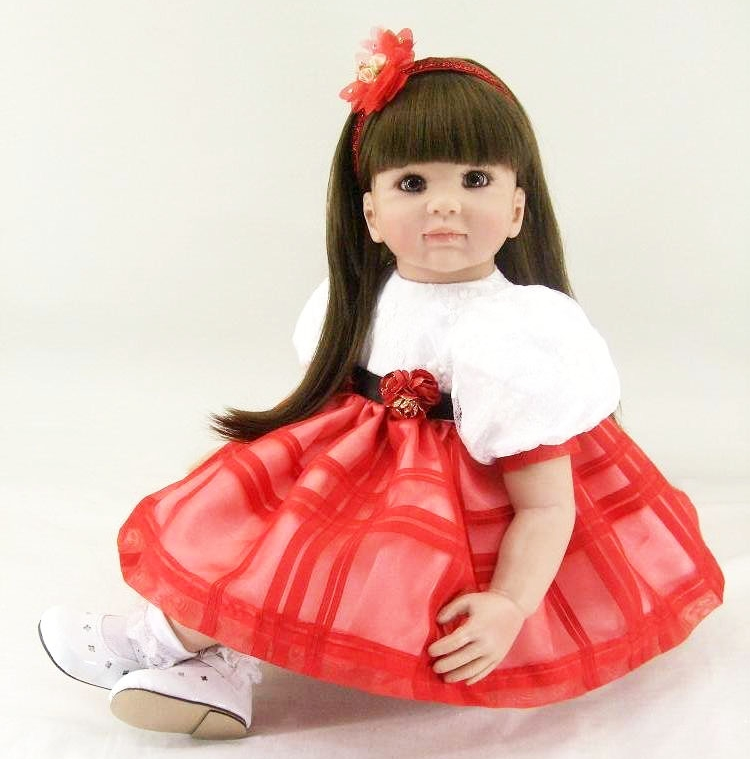 Pursue 24/60 cm Handmade Beautiful Red Dress Silicone Baby Alive Reborn Toddler Baby Princess Girl Doll Toys for Girls Birthday handmade beautiful in pink dress soft cloth body reborn silicone toddler girl baby alive doll toys for children girls birthday