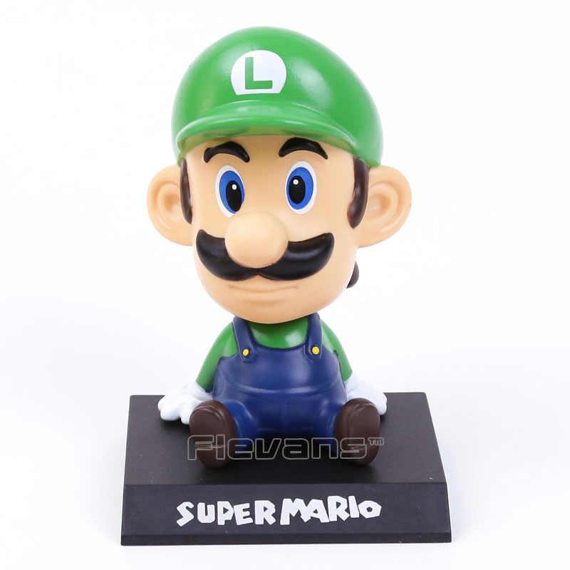 Super mario irmão mario luigi bobble cabeça figura pvc brinquedo boneca carro ornamento 2 estilos