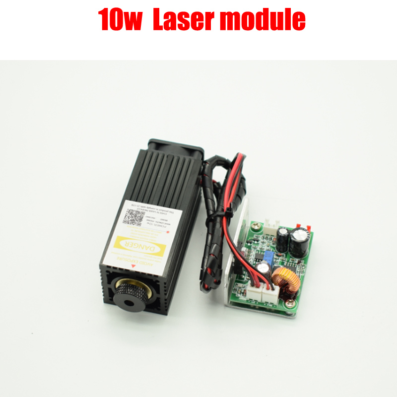 High Power 450nm 10W Focusing Blue Laser Module Laser Engraving Cutting with TTL Module 10000mw with Protection Goggle glasses