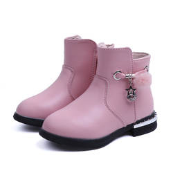 AFDSWG/кожаная зимняя обувь для детей, бархатная теплая детская зимняя обувь, короткие красные сапоги для девочек, меховые черные кожаные