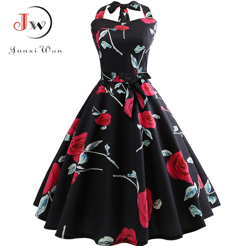 Women Summer Elegant Halter Sexy Party Dress Casual Floral Print Vintage Swing 50s 60s Retro Rockabilly Dresses Plus Size Jurken