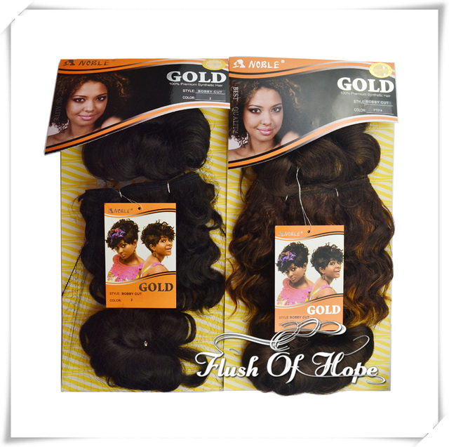 2 Packslot Free Hair Piece Noble Gold Bobby Cut Synthetic Hair