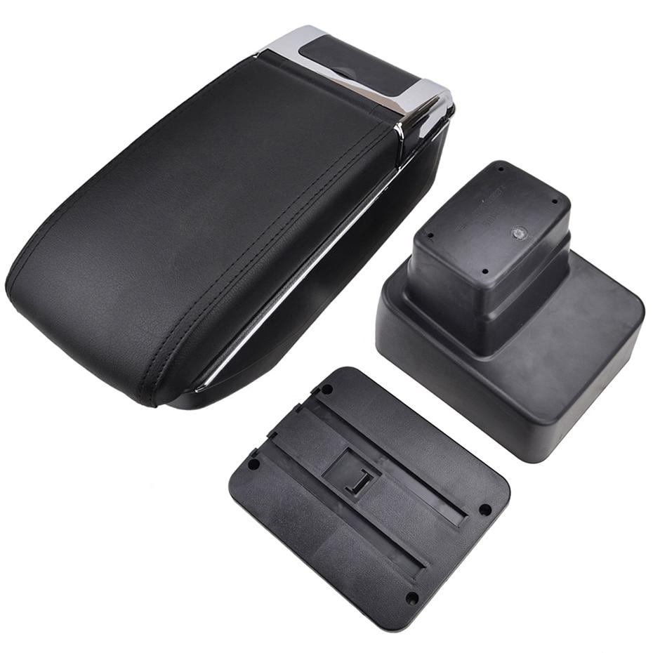 Dual-Layer Black Leather Arm Rest For CX-3 2015-2018 Centre Console Storage Box Armrest