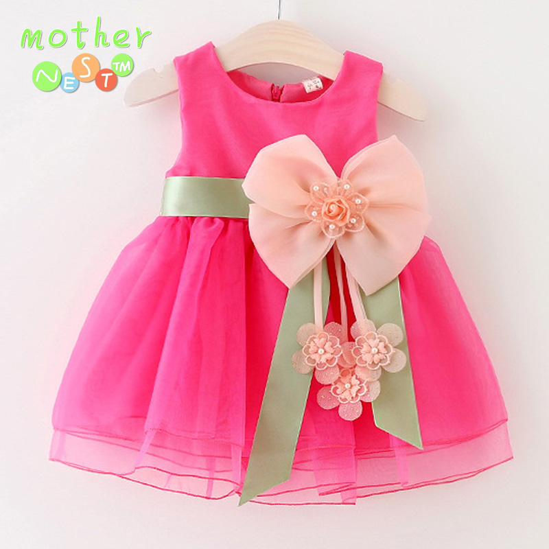 2017 New Summer Baby Girls Dresses Princess Bow Weddings Dress Kids Birthday Party Dress Costume Children Clothing For 0-2 Year