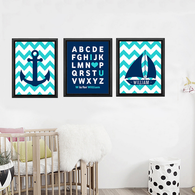Chevron Anchor Sail Boat Canvas Painting Named Nursery Alphabet Art Nautical Poster Wall Picture For Kids