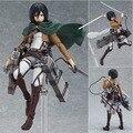 """15 CM Anime figura ataque on Titan Figma Brinquedos 203 Mikasa Ackerman 6 """" PVC figura de acción coleccionable modelo muñeca de juguete para los niños"""