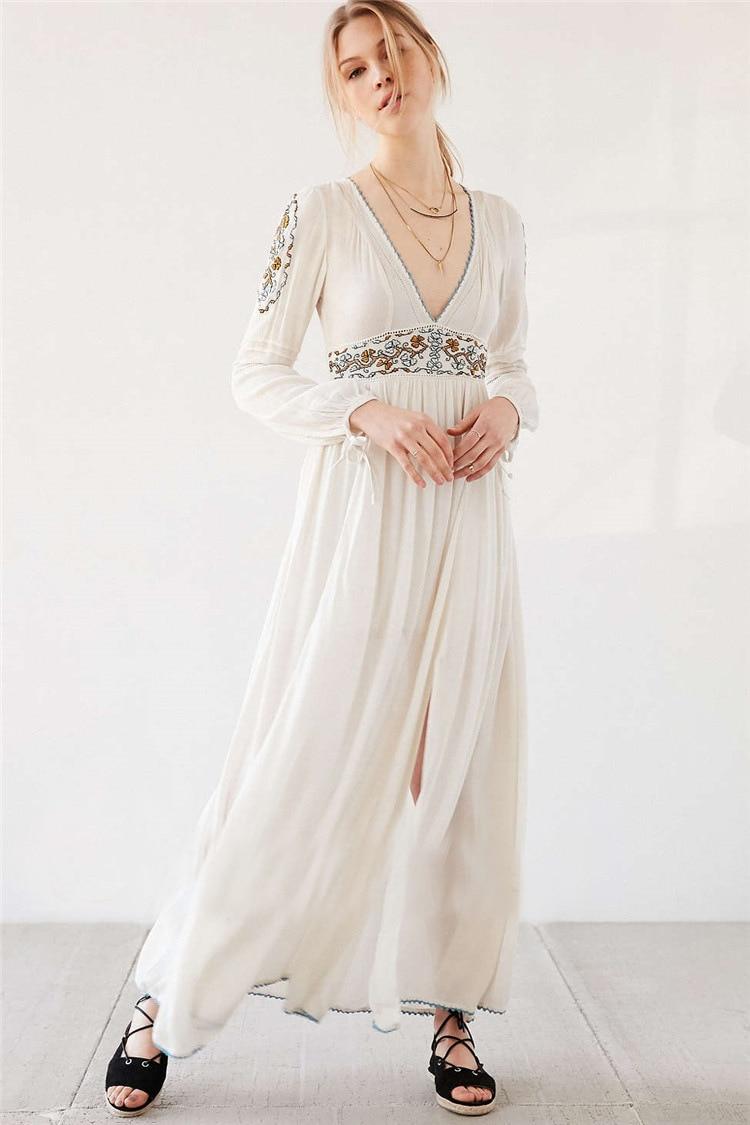 85f3c17fd43 Vintage Maxi Dress Thailand India Nepalese Style Cotton Boho Long Dress  White Deep V Neck Long Sleeve Embroidery ...