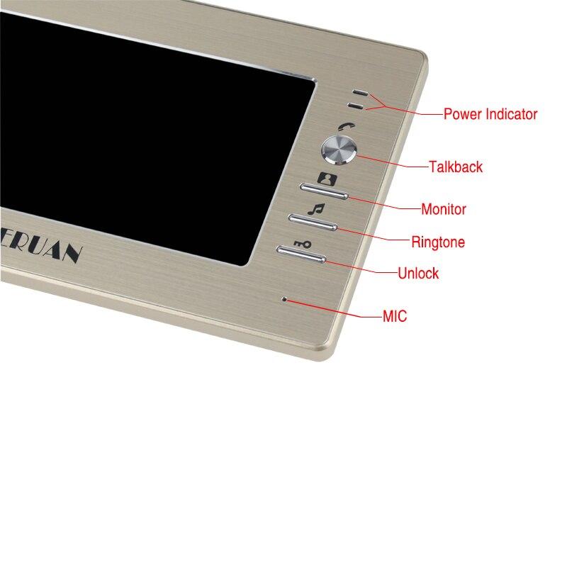 HOME 7 inch Video Doorbell Intercom System kit Metal waterproof password keypad HD Mini Camera + Electronic control lock