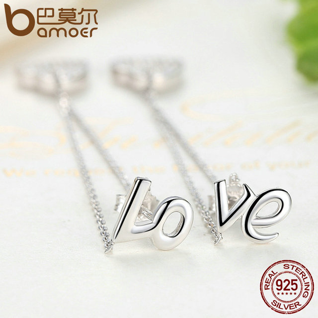 Sterling Silver Love Long Earring