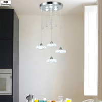Modern Crystal Pendant Lamp 3 Heads Simple Creative LED Stainless Steel Stairwell Light fixture LED Bar Hanging Lights Bedroom