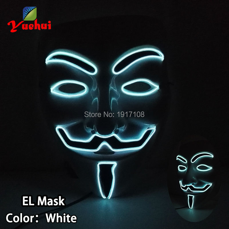 2017 New Design Halloween Vendetta Mask el wire Mask 10 Color Cute glowing LED Party Mask Gift Powered by DC-3V Steady on Drive