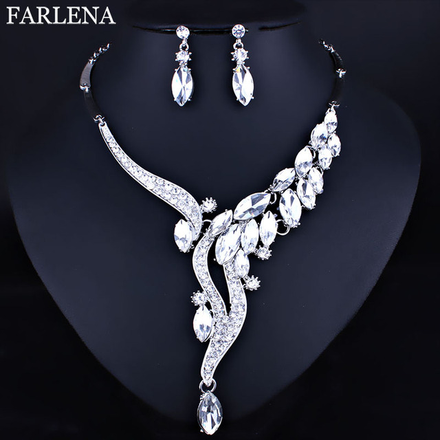FARLENA Jewelry Clear Crystal Rhinestones Necklace Earrings Set for Women Fashio