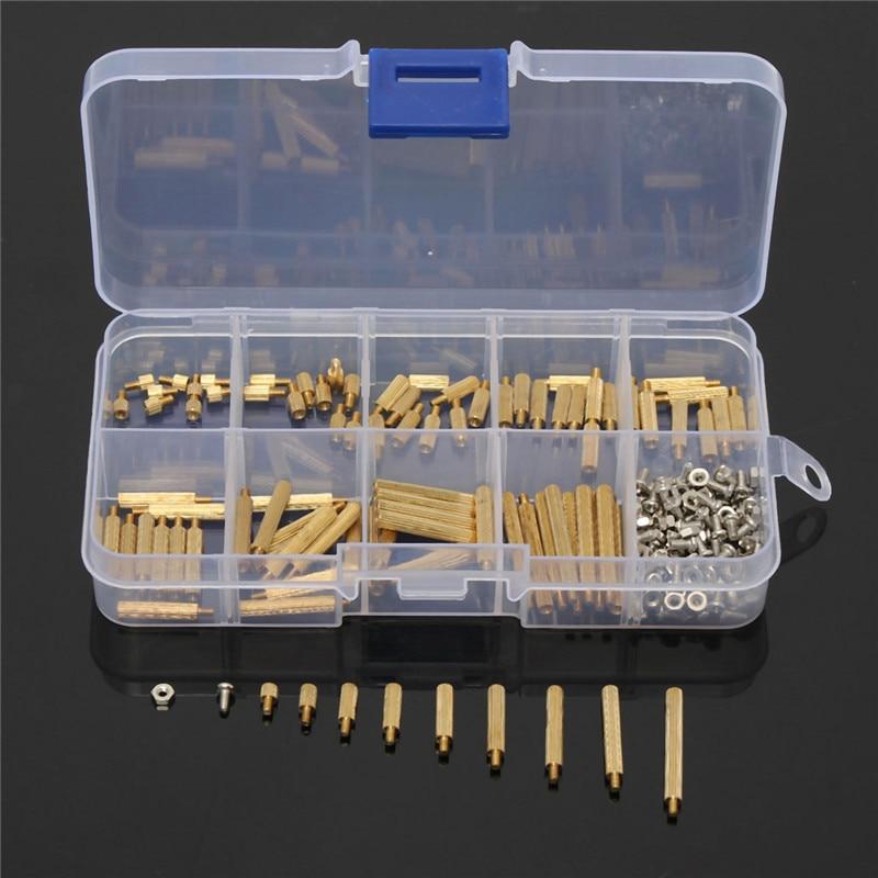 270pcs/Set Brass M2 3-25mm Male to Female Brass Standoff Screw Nut Assortment Kit Set 100 pcs male to female screw brass pillars standoff spacer m2x6mmx9mm