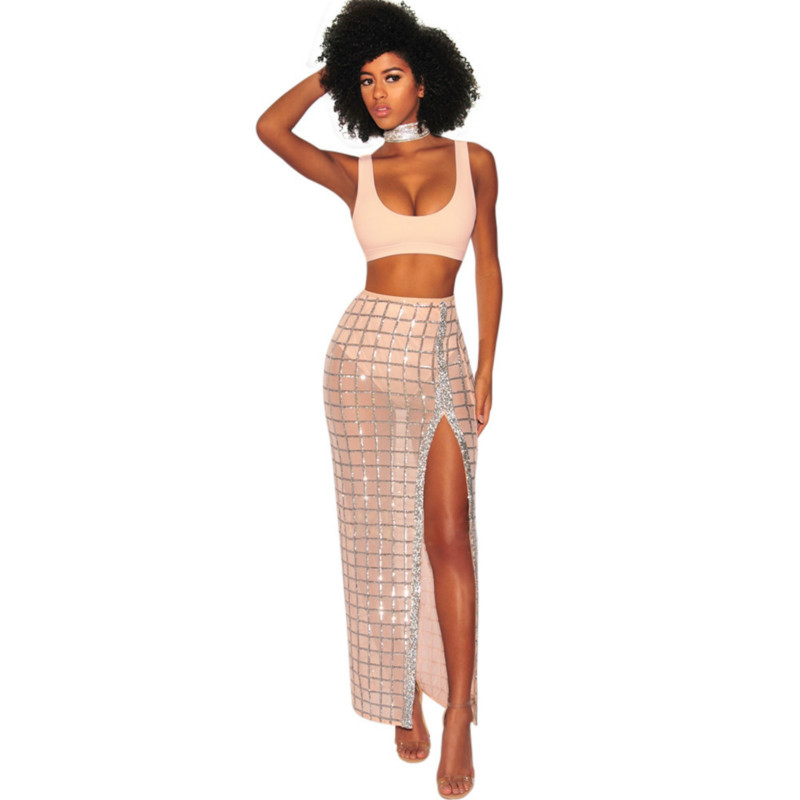 Women's Sexy 2 Piece Set Short Tank Top and Mesh Perspective Split Long Skirt Tracksuit