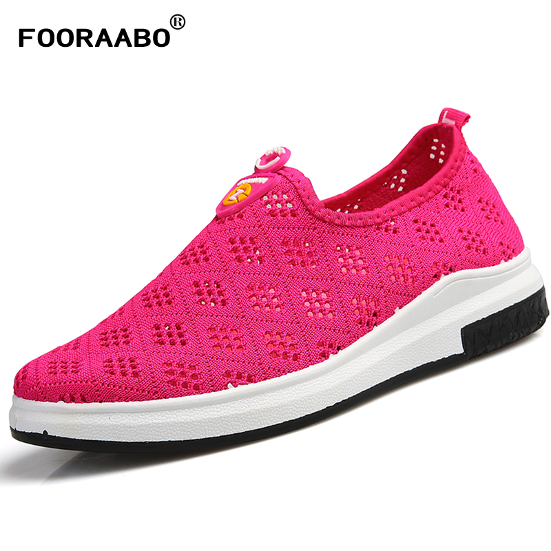 Fooraabo Spring Fashion Women Flat Loafers Shoes 2018 New Summer Ladies Branded Shoes Woman Breathable Mesh Female Shoes Flats eiswelt shoes spring summer fashion rivet flats party pointed flock women shoes wedding shoes glitter flat ladies shoes zjf84
