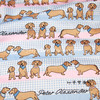 140cm Width Pink And Blue Plaid The Dachshund Dogs Party Cotton Stain Fabric For Baby Boy