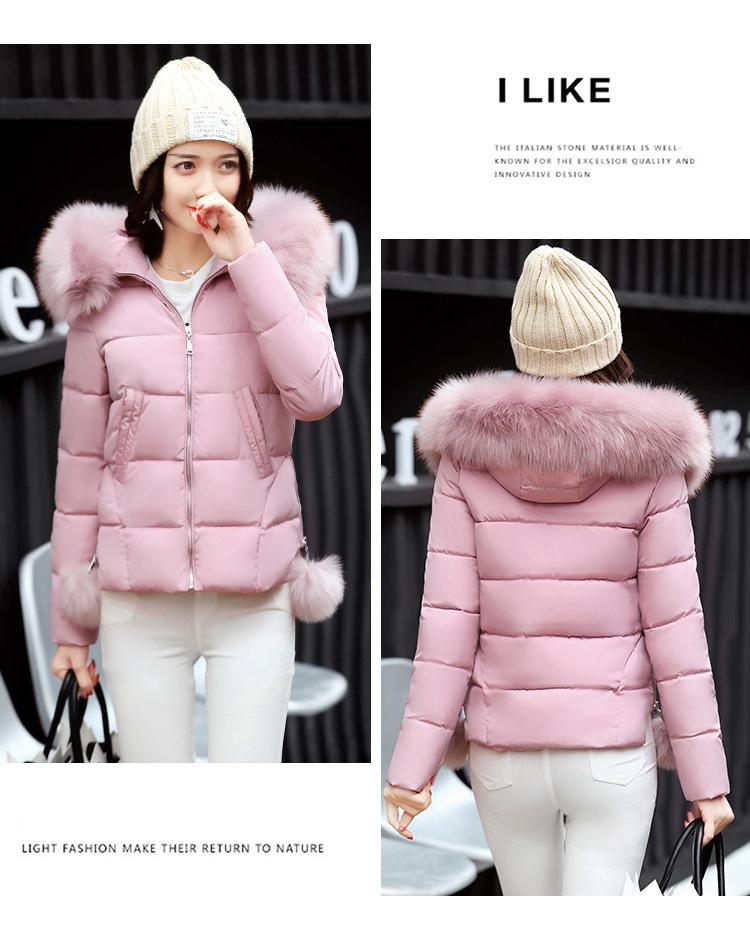 Short Women Basic Jackets Streetwear Warm Casual Coats Female Parka Cotton Hooded Winter Women Jacket Coat Outwear 19 DR114 8