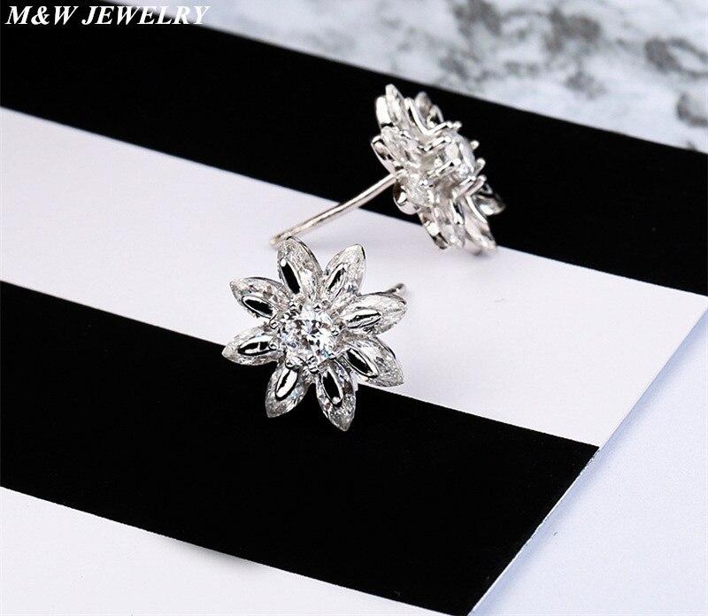 M&W JEWELRY Hot Sale 925 Sterling Silver Earrings AAA+ Cubic Zirconi For Women Authentic Luxury Fine DIY Jewelry Christmas Gift