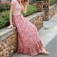 Ladies Summer Gypsy Boho Skirt Ankle Length Ruffle Floral Long Skirt PINK