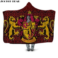 Gryffindor Symbol Hooded Blanket Red Color Sherpa Fleece Kids Wearable Blanket Vintage Bedding Quilts Throw Blanket 2019 Newest