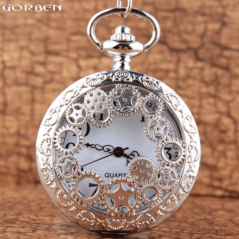 Luxury Silver Hollow Gear Quartz Pocket Watch Unique Fashion Design Men Women Pocket Watches Necklace Chain Best Gifts With Box top high quality fashion fullmetal alchemist quartz pocket watch sets with necklace ring set men women gifts box free shipping