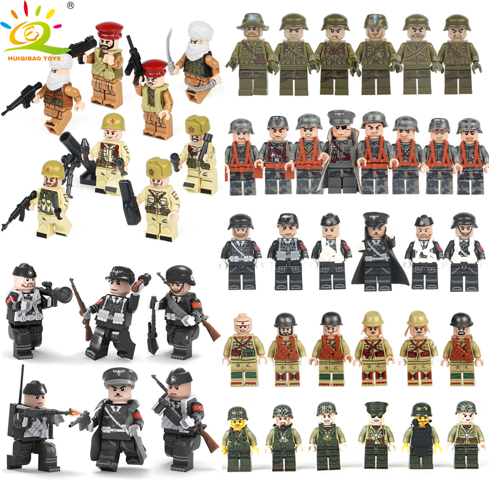 HUIQIBAO TOYS Army Weapon Soldier Figures set Educational Building Blocks Toys Compatible Legoed Military ww2 Germany Bricks