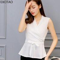 Kobeinc Slim Large Size Sleeveless Leisure Chiffon Shirt Solid Bow Blusa Feminina Summer New Female Korean