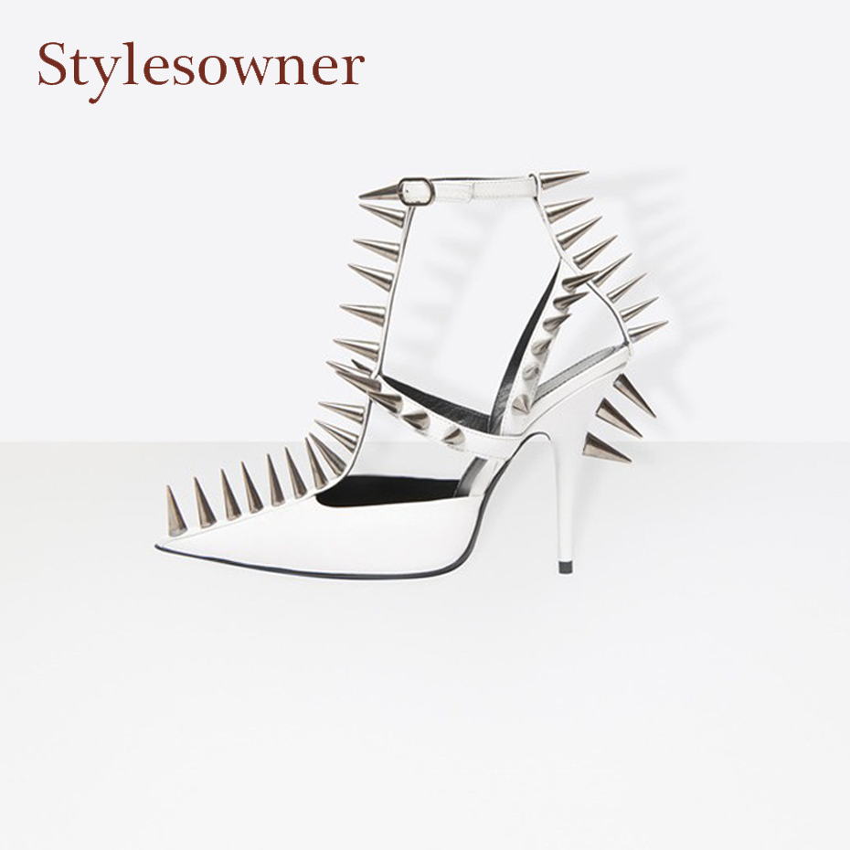 Stylesowner fashion street snap high heel pumps spike rivet stud t strap women sandals sexy pointed toe thin heel runway shoes hard drive for 4600r 4300r st336705lc 9p6001 302 well tested working 90days warranty page 7